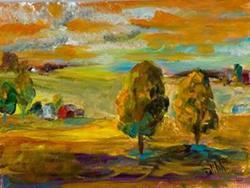 Art: Tangerine Landscape by Artist Delilah Smith