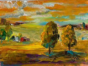 Art: Tangerine Landscape-sold by Artist Delilah Smith