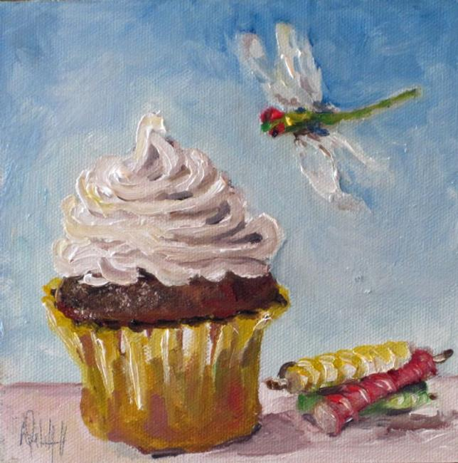 Art: Cupcake and Dragonfly by Artist Delilah Smith
