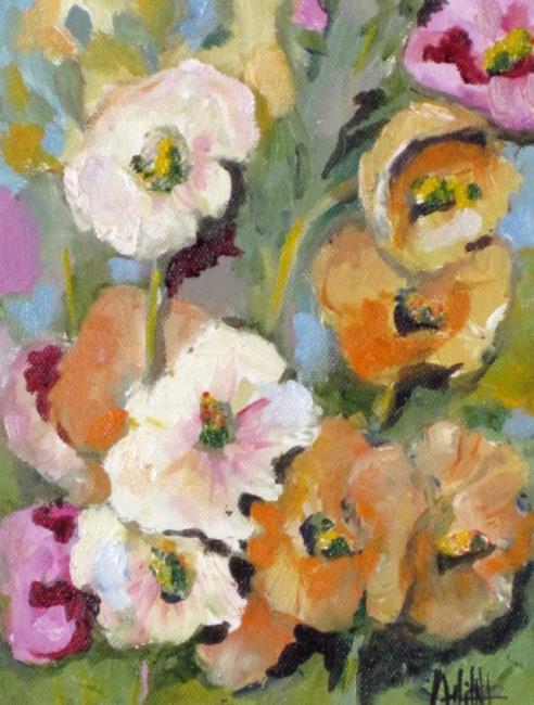 Art: Hollyhocks No2-sold by Artist Delilah Smith