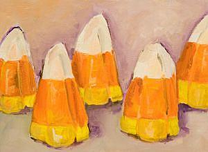 Art: Five Candy Corns by Artist Delilah Smith