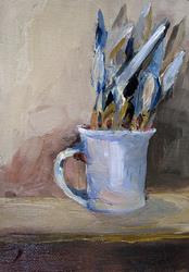 Art: Cup and Painting Knives by Artist Delilah Smith