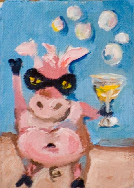 Art: Zoro the Party Pig Aceo by Artist Delilah Smith