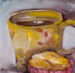 Art: Morning Muffin with Coffee-SOLD by Artist Delilah Smith