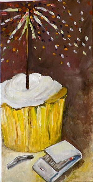 Art: New Years Cupcake by Artist Delilah Smith