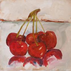 Art: Five Cherries by Artist Delilah Smith
