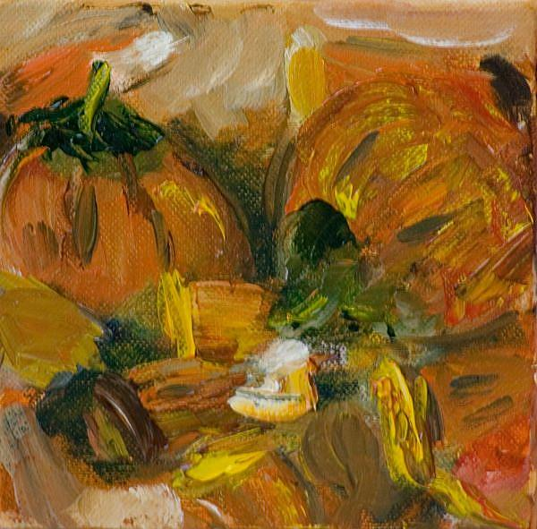 Art: Candy Corn and Pumpkins by Artist Delilah Smith