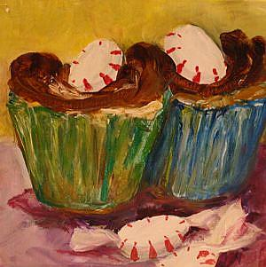 Art: Two Cupcakes all Dressed up by Artist Delilah Smith