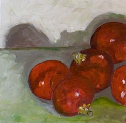 Art: Red Christmas Bulbs-sold by Artist Delilah Smith