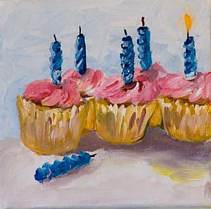 Art: Birthday Cupcakes III by Artist Delilah Smith
