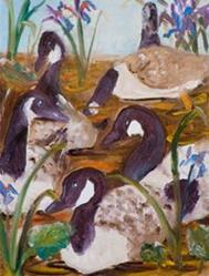 Art: Six Geese a Laying 12 days of Christmas-sold by Artist Delilah Smith