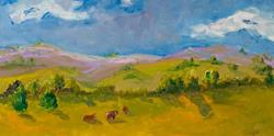Art: Cows in the Pasture No 2 by Artist Delilah Smith