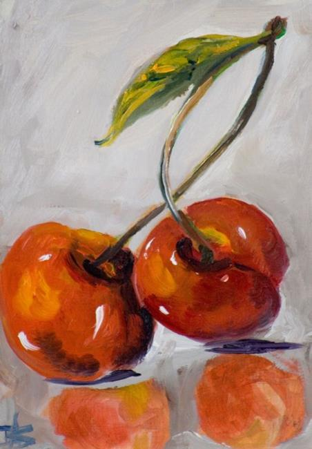 Art: Two Cherries by Artist Delilah Smith