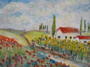 Detail Image for art Poppies and Sunflowers-SOLD