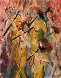 Art: Girls with Flutes by Artist Delilah Smith