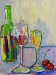 Art: Bottle of  Wine and Cherries by Artist Delilah Smith