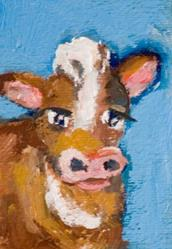 Art: Cow Aceo by Artist Delilah Smith