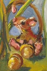 Art: Mouse and Acorn Aceo-sold by Artist Delilah Smith