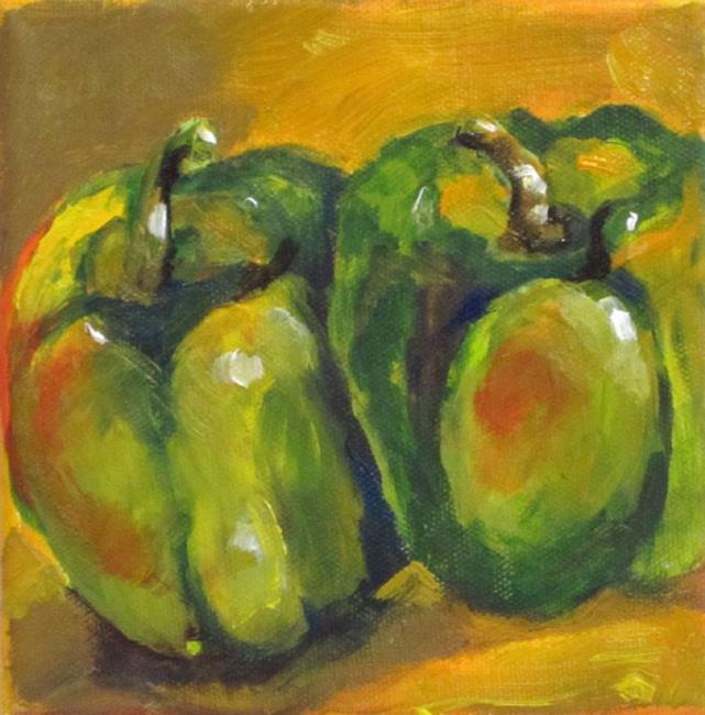 Art: Sassy Green Peppers by Artist Delilah Smith