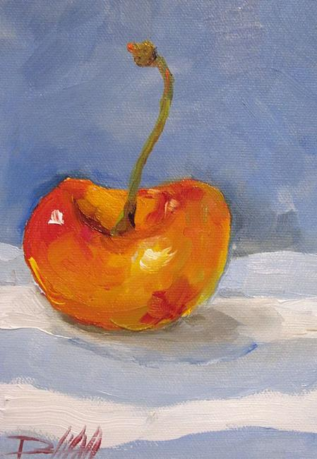 Art: Queen Anne Cherry on Blue Strip by Artist Delilah Smith