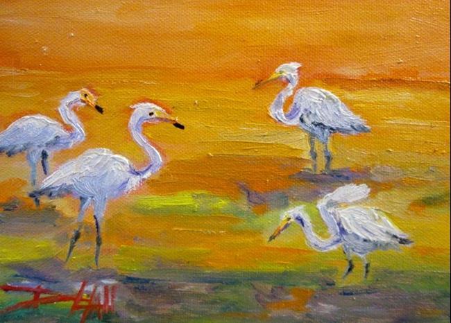 Art: Sunset Egrets by Artist Delilah Smith
