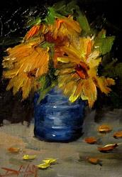 Art: Can of Sunflowers by Artist Delilah Smith