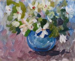 Art: White Flowers by Artist Delilah Smith