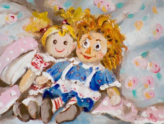 Art: Best Friends.Rag Dolls by Artist Delilah Smith