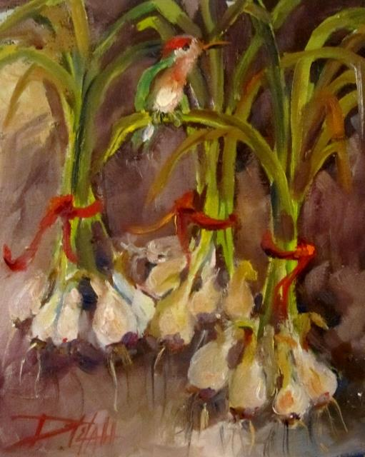 Art: Scallions and Hummingbird by Artist Delilah Smith