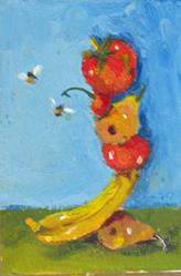 Art: Fruit Balanced Aceo by Artist Delilah Smith