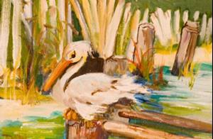 Detail Image for art Snoozing Pelican-sold