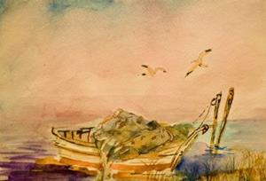 Detail Image for art Old Fishing Boat-sold