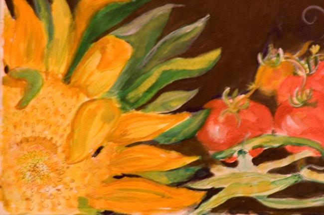 Art: Sunflower and Vegtables by Artist Delilah Smith