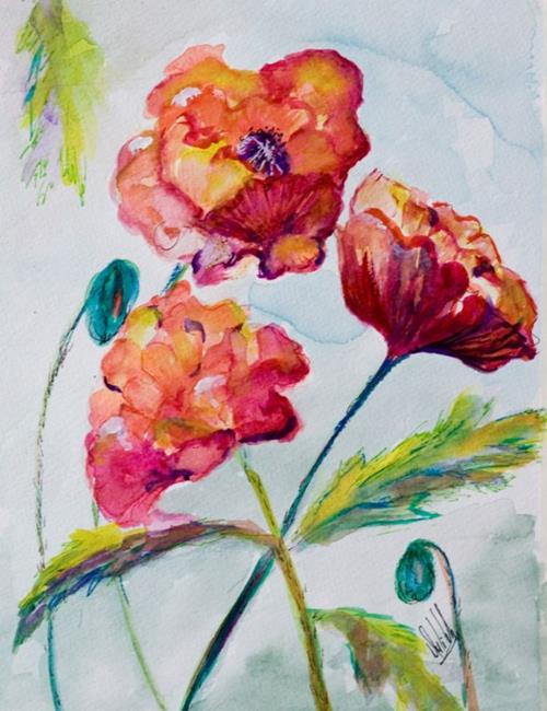 Art: Three Poppies-sold by Artist Delilah Smith