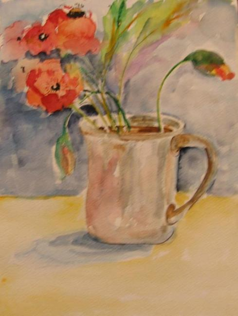 Cup Of Poppies By Delilah Smith From Daily Paintings