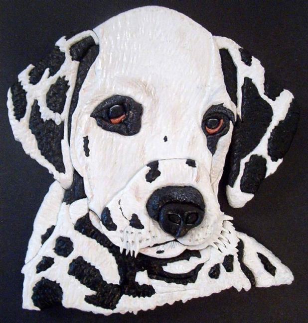 Art: Dalmation Original Painted Intarsia Art by Artist Gina Stern