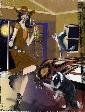 Art: Dance with yer Dogs in the Moonlight by Artist Carol Cross