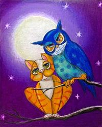 Art: Owl and Pussycat: What's it to You by Artist Alma Lee