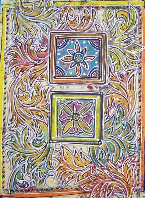 Art: Double flowers by Artist Joan Hall Johnston