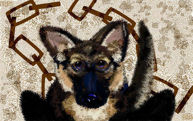 Art: Break These Chains: German Shepard Dog by Artist Alma Lee