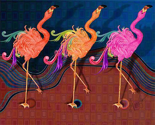Art: Chorus Line Flamingoes by Artist Alma Lee
