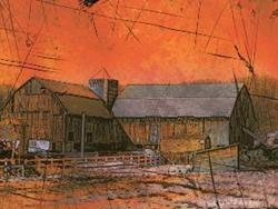 Art: Barn At Sunset by Artist Claire Bull