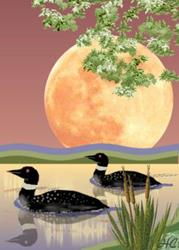 Art: Loons in Moonlight by Artist Hannah Clements