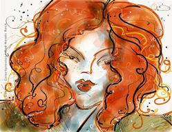 Art: Red Heads Rock by Artist Kathryn Delany
