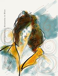 Art: Brunette in blue coat by Artist Kathryn Delany