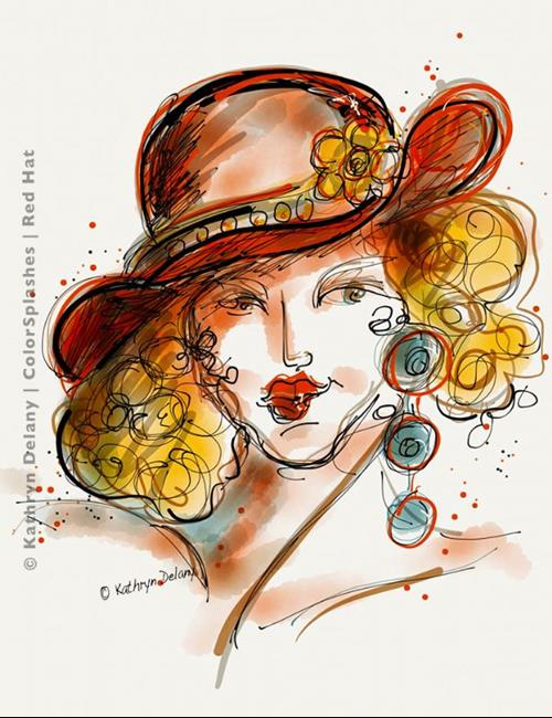 Art: Red Hat by Artist Kathryn Delany