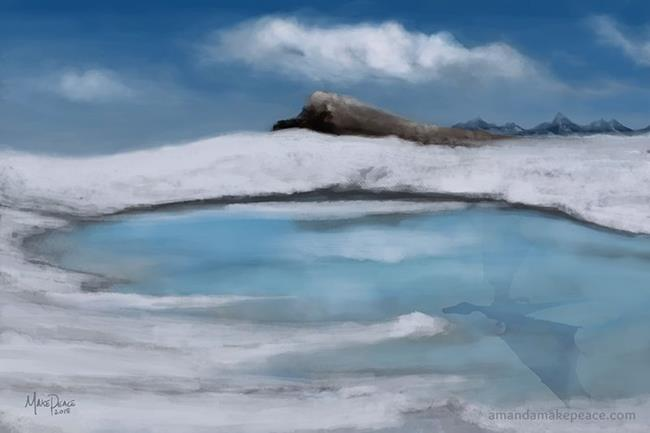 Art: Dragon Lake in Winter by Artist Amanda Makepeace