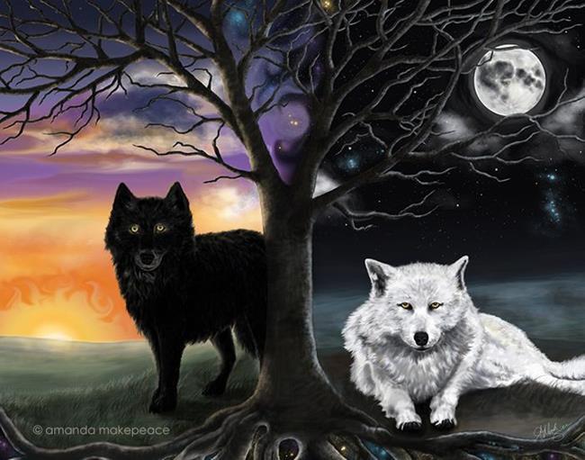 Art: Skoll and Hati by Artist Amanda Makepeace