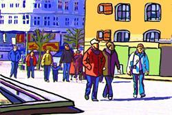 Art: Sunny Waterfront Stroll at Nyhavn in Copenhagen by Artist Joan Hall Johnston