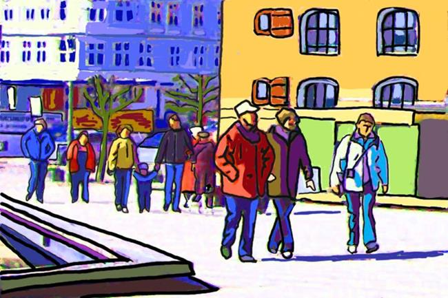 Art: Sunny Waterfront Stroll at Nyhavn in Copenhagen by Artist Joan Hall Johnston